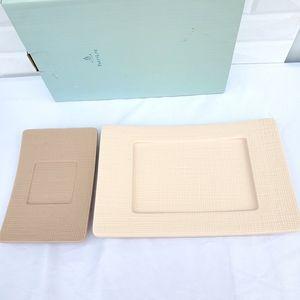 Partylite Linen Pillar 2 Holders Cream Tan P7459